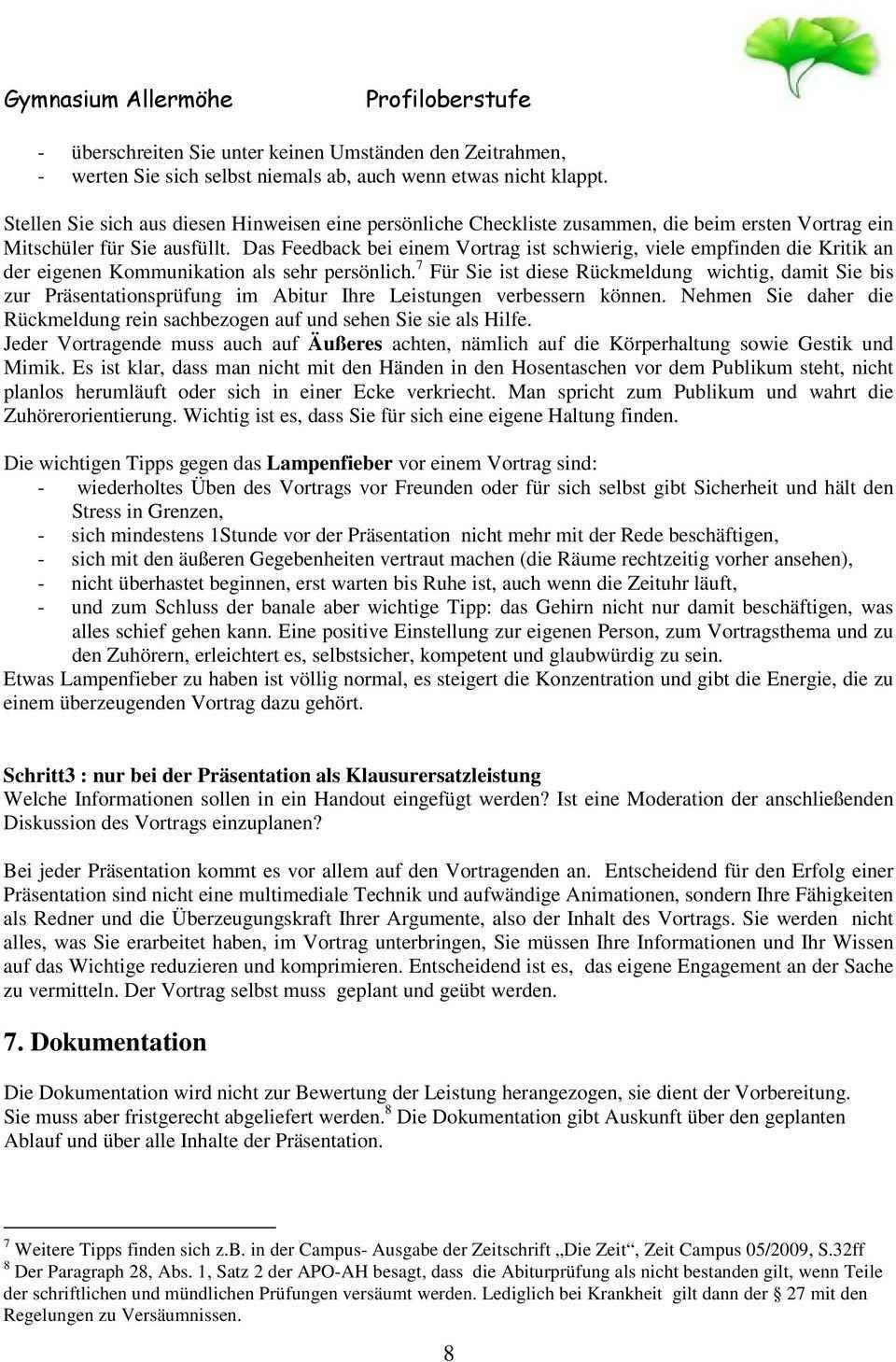 Prasentationsprufungen Im Abitur Und Prasentationsleistungen Als Klausurersatz Pdf Free Download