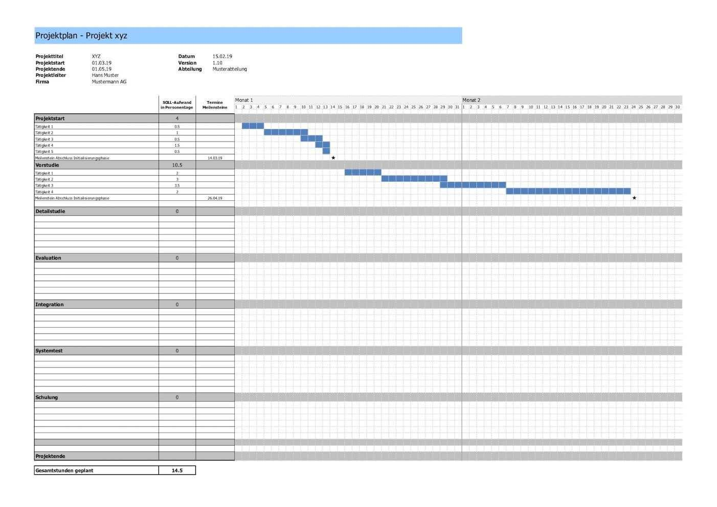 Projektplan Vorlage Im Excel Format In 2020 Projektplan Vorlage Planer Vorlagen