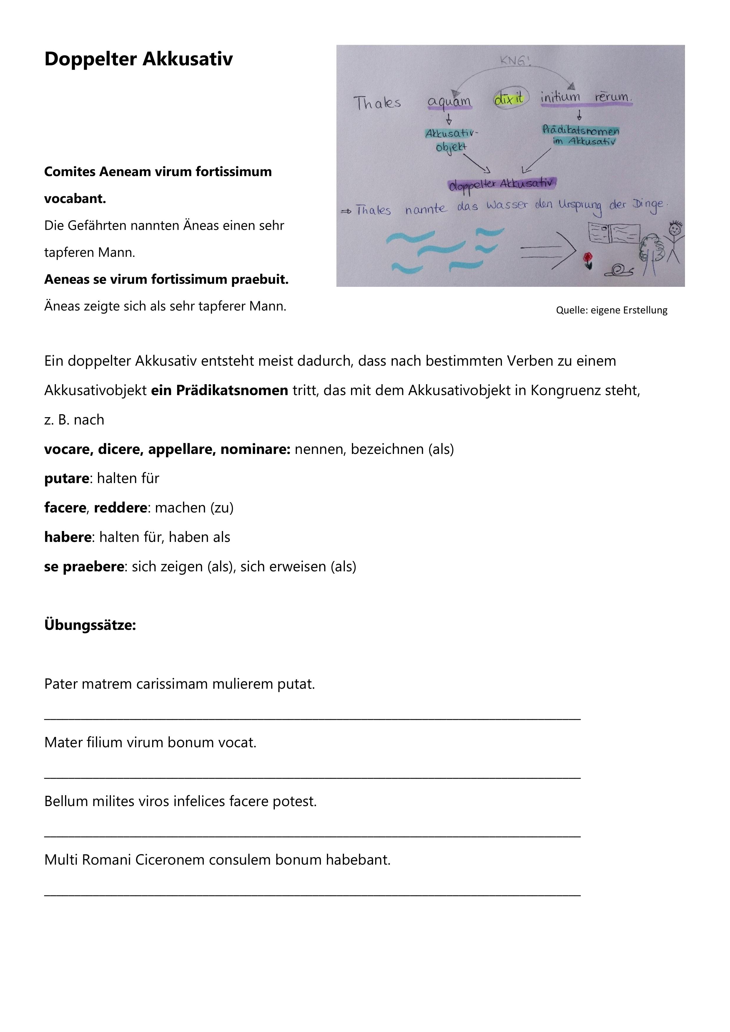 Doppelter Akkusativ Erklarung Und Ubungssatze Unterrichtsmaterial Im Fach Latein Ubung Lernen Einfache Satze