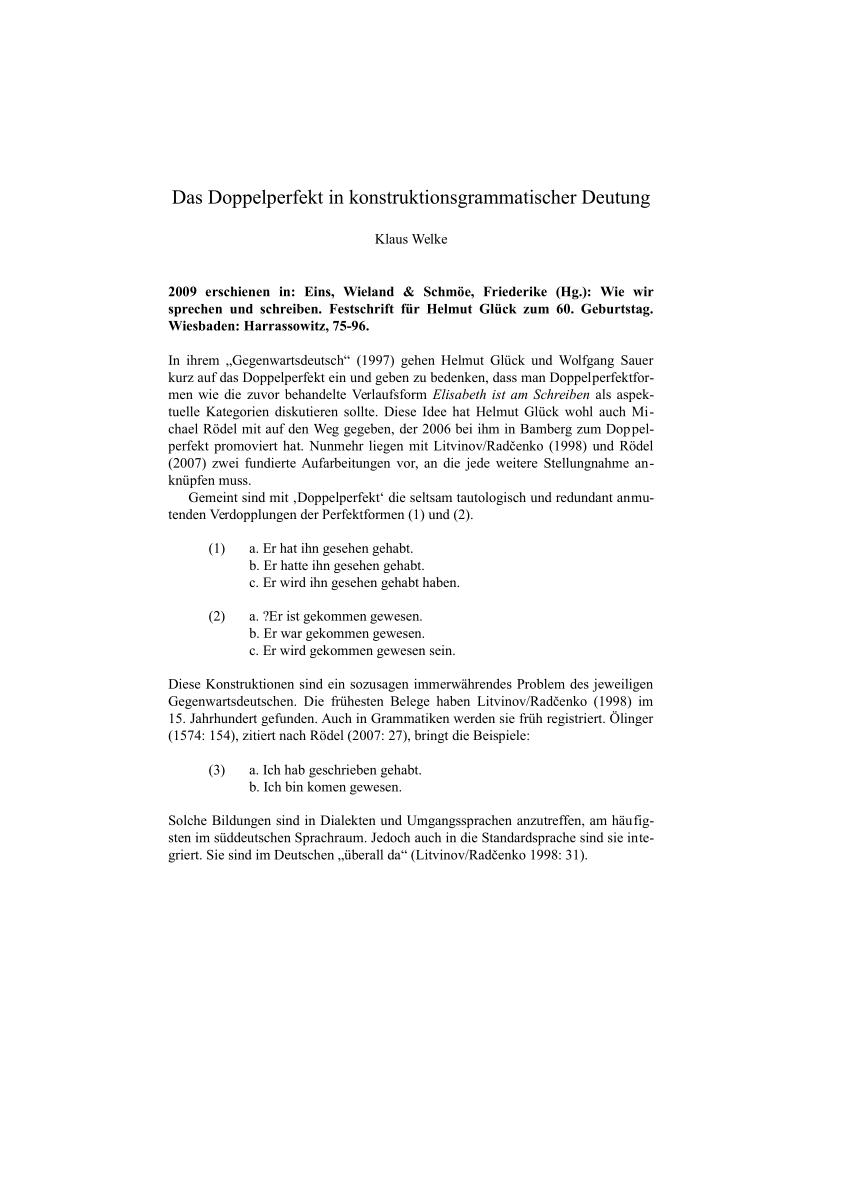 Pdf Das Doppelperfekt In Konstruktionsgrammatischer Deutung
