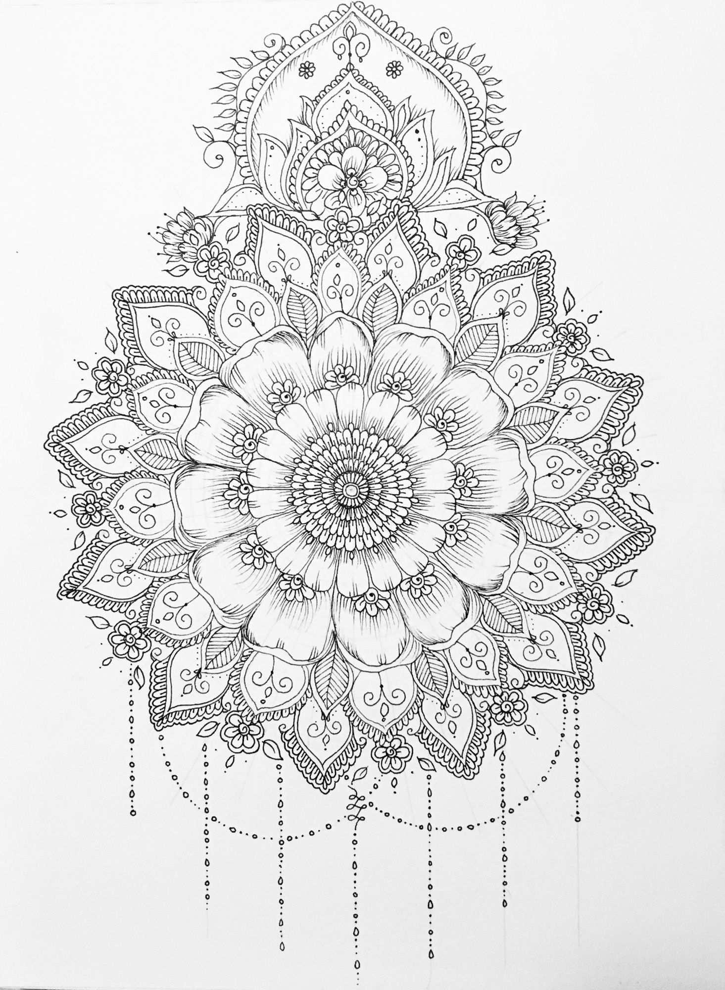 Beauty Mandala Drawing Mandala Coloring Pages Mandala
