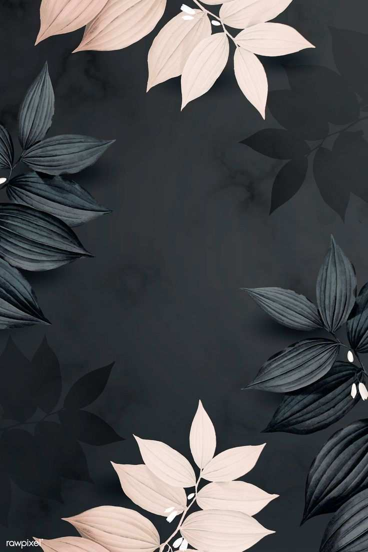 Download Premium Vector Of Foliage Pattern Black Background Vector 936156 In 2020 Black Background Wallpaper Flower Phone Wallpaper Flower Background Wallpaper