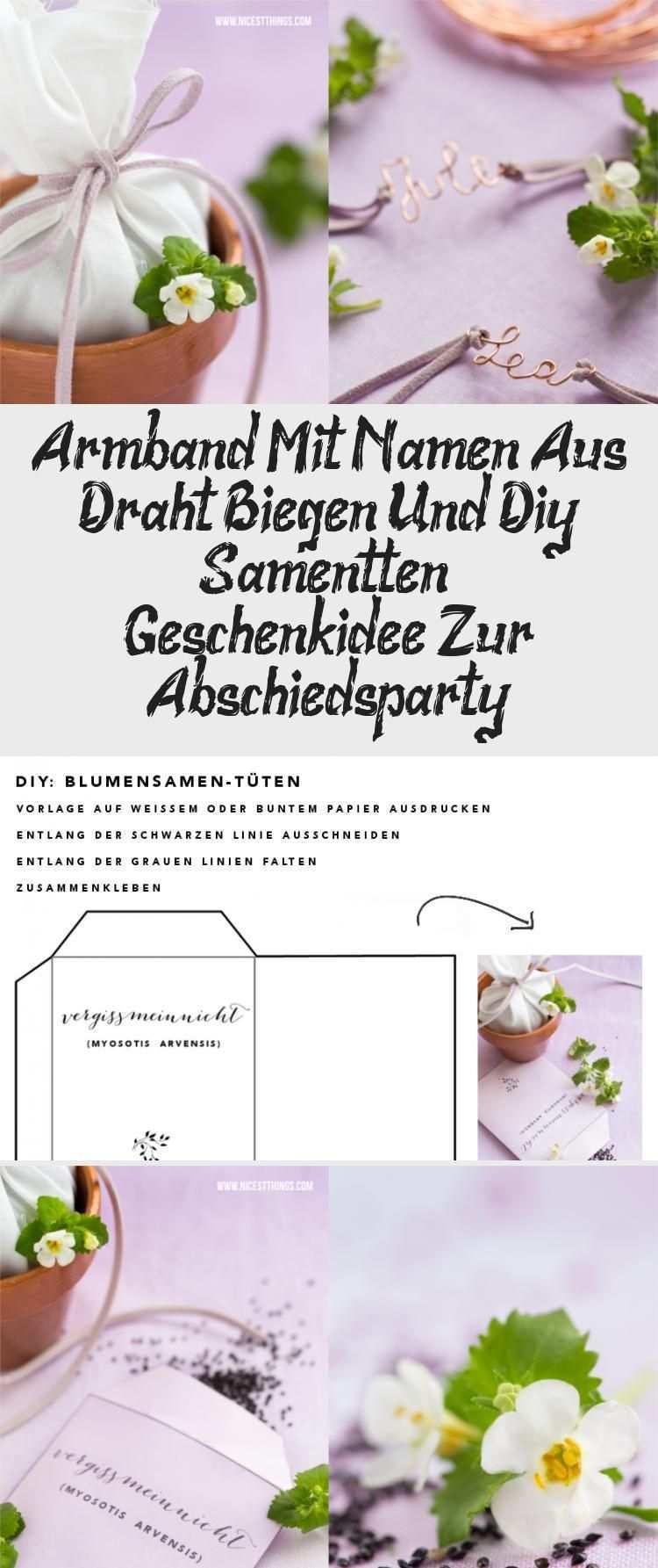 Armband Mit Namen Aus Draht Biegen Und Diy Samentuten Geschenkidee Zur Abschiedsparty In 2020