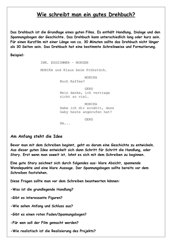 Wie Schreibt Man Ein Gutes Drehbuch Drehbuch Spannungsbogen Gute Filme