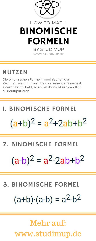 Binomische Formeln Spickzettel By Studimup Mathematik Lernen Nachhilfe Mathe Binomische Formeln