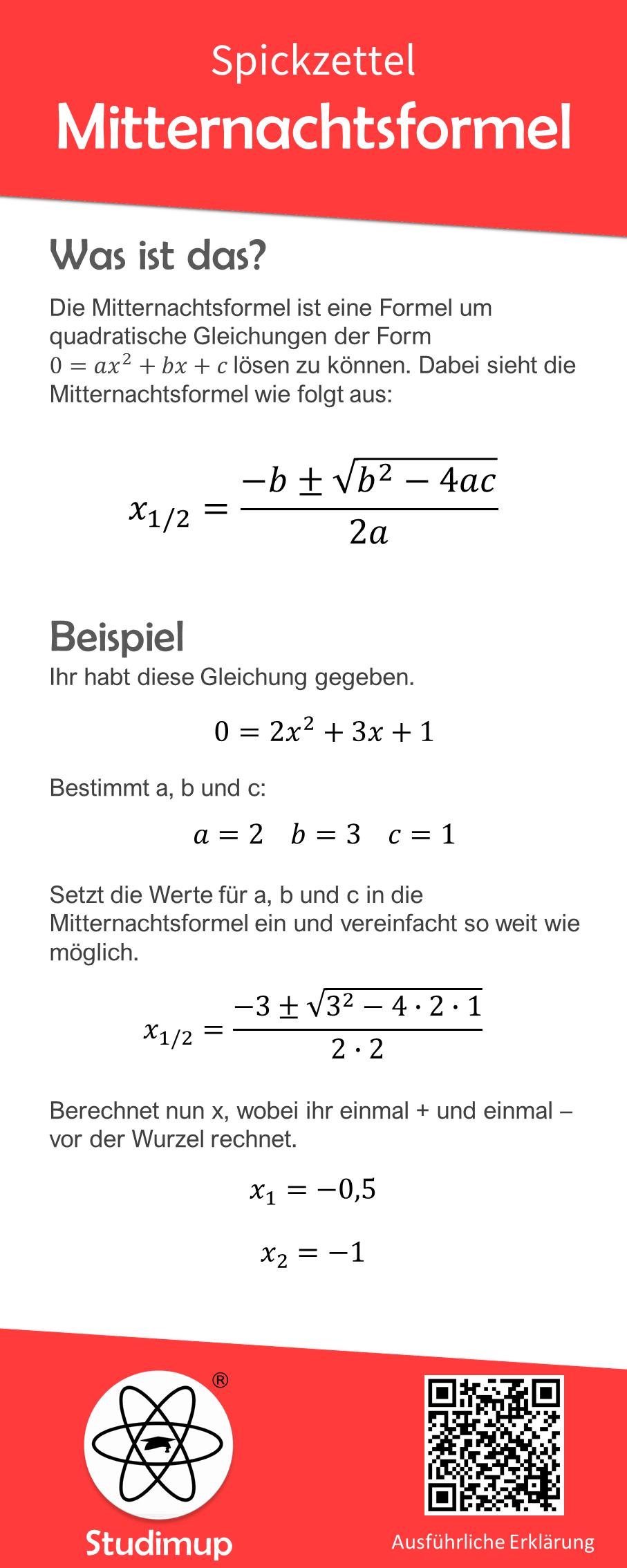 Mitternachtsformel Spickzettel Spickzettel Lernen Mathematikunterricht