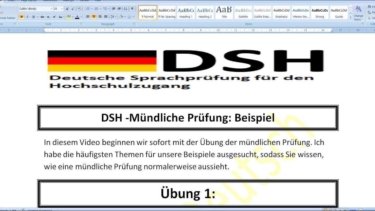 Dsh Mundliche Prufung Beispiel Ubung Deutsch Lernen B2 C1 Vorstellung Und Zusammenfassung Youtube
