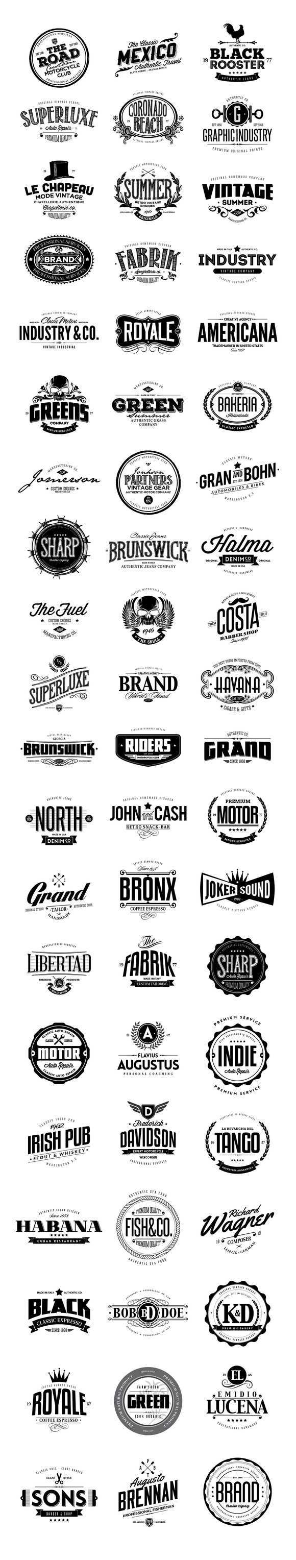 60 Logo Templates Bundle Vintage Logo Design Badge Logo Graphic Design Logo