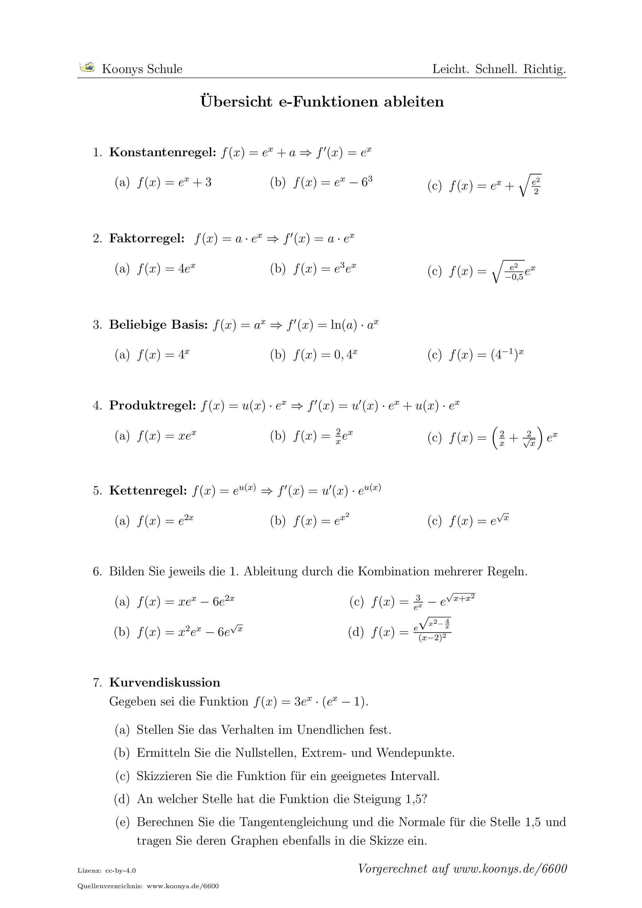 Ubersicht E Funktionen Ableiten Alle Aufgaben Auf Www Koonys De 6600 Vorgerechnet Nachhilfe Mathe Mathe Formeln Mathematik Lernen