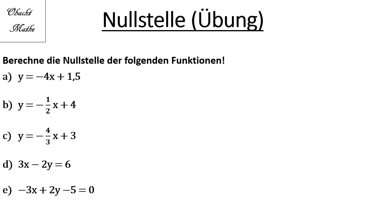 Nullstelle Nullstelle Berechnen Ubungsaufgaben Losungen Lineare Funktionen Geraden Obachtmathe Mathe Lineare Funktion Lernen