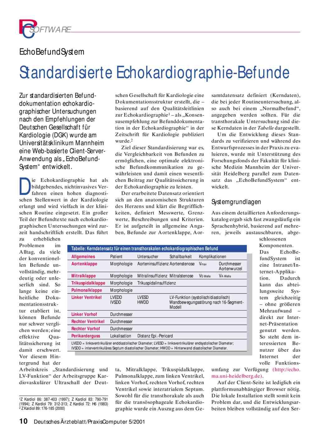 Echobefundsystem Standardisierte Echokardiographie Befunde