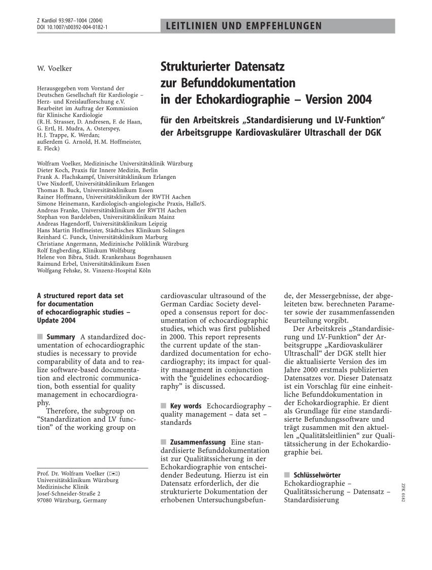 Pdf Strukturierter Datensatz Zur Befunddokumentation In Der Echokardiographie Version 2004