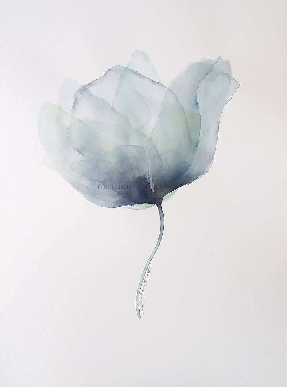 Blue Poppy Large Original Art 22x30 Inch Watercolor Original Painting Modern Translucent X Ray Style Wall Decor Art Painting Watercolor Paintings Tutorials
