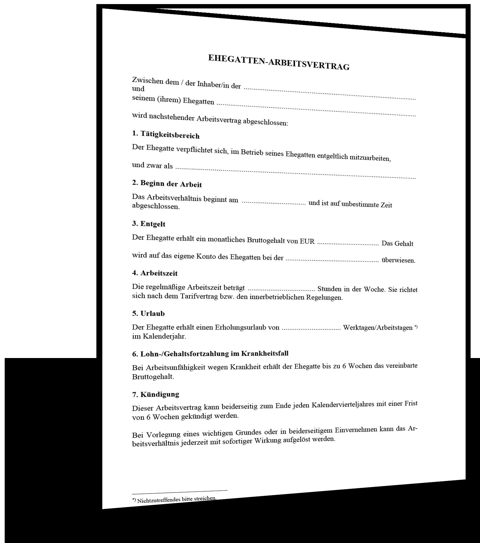 Vorlage Ehegattenarbeitsvertrag