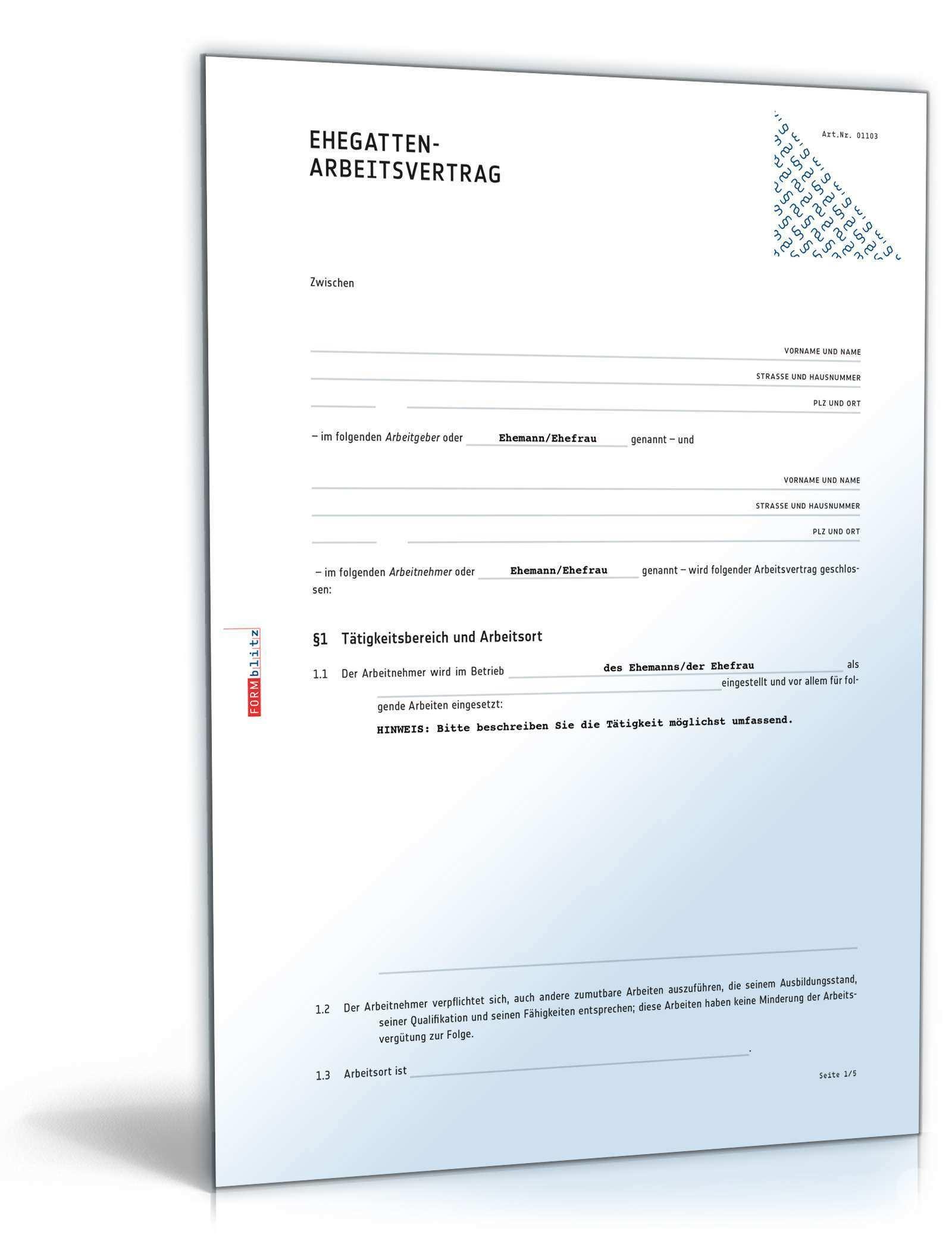 Ehegatten Arbeitsvertrag Anwaltsgepruftes Muster Zum Download
