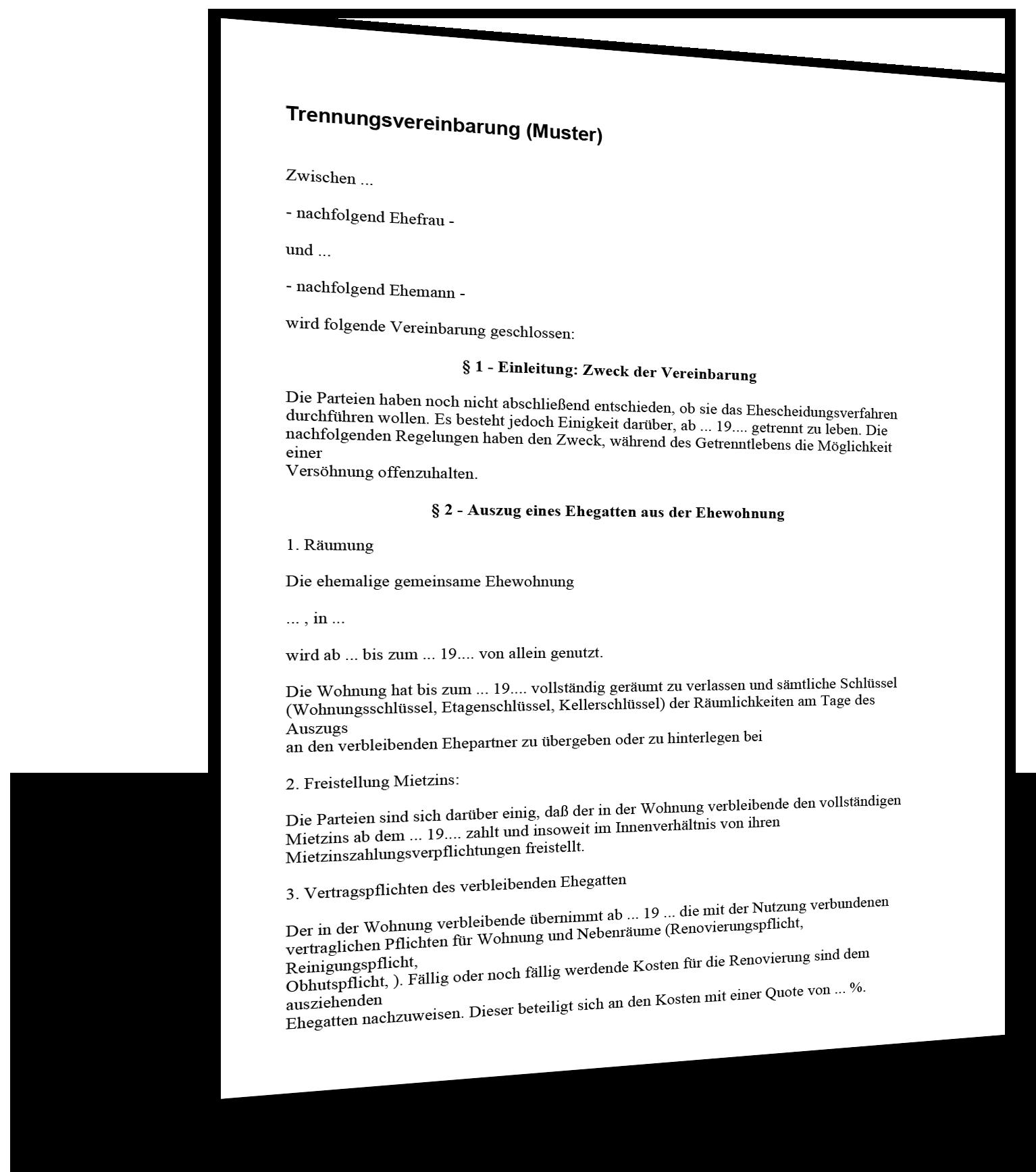 Trennungsvereinbarung Muster Standardvertraege De