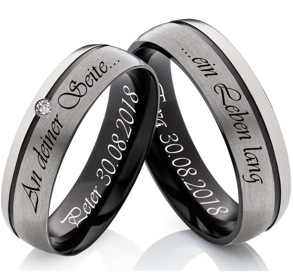 2 Partnerringe Freundschaft Tricolor Aus Titan Mit Zirkonia Und Lasergravur Ff48 Ebay Ring Verlobung Trauringe Paar Ring