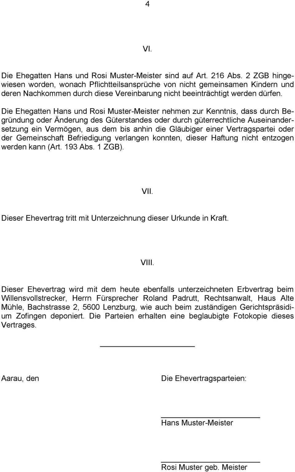 E H E V E R T R A G Auf Abanderung Der Vorschlagsbeteiligung Gemass Art 216 Abs 1 Zgb Pdf Free Download