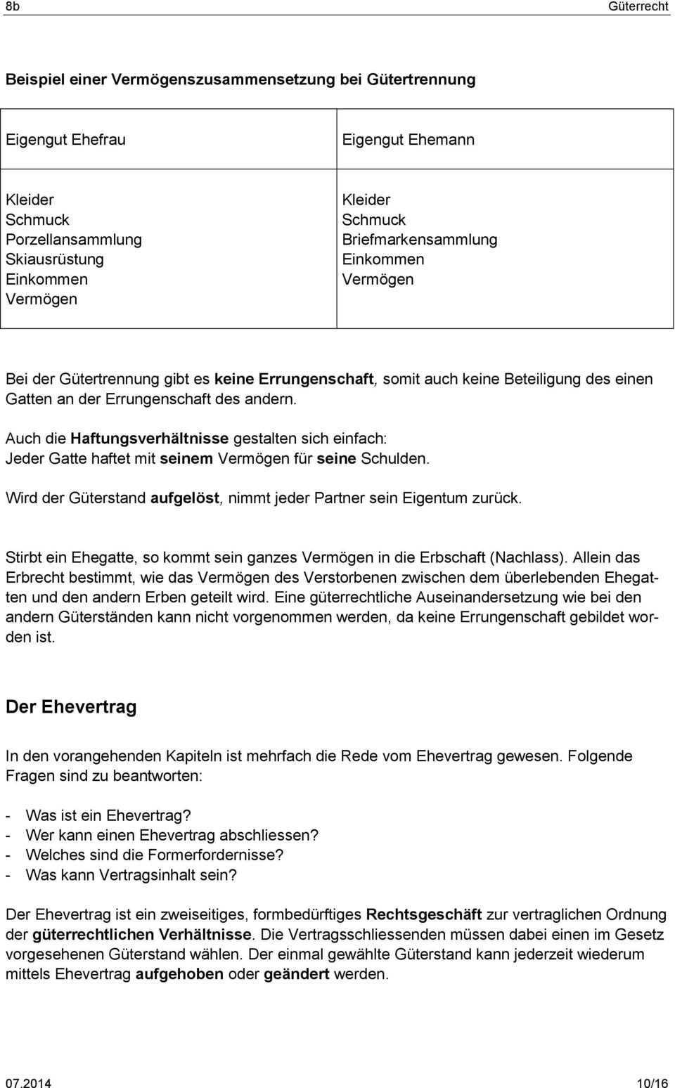 Guterrecht Rechtliche Grundlagen Zweck Die Guterstande Pdf Free Download
