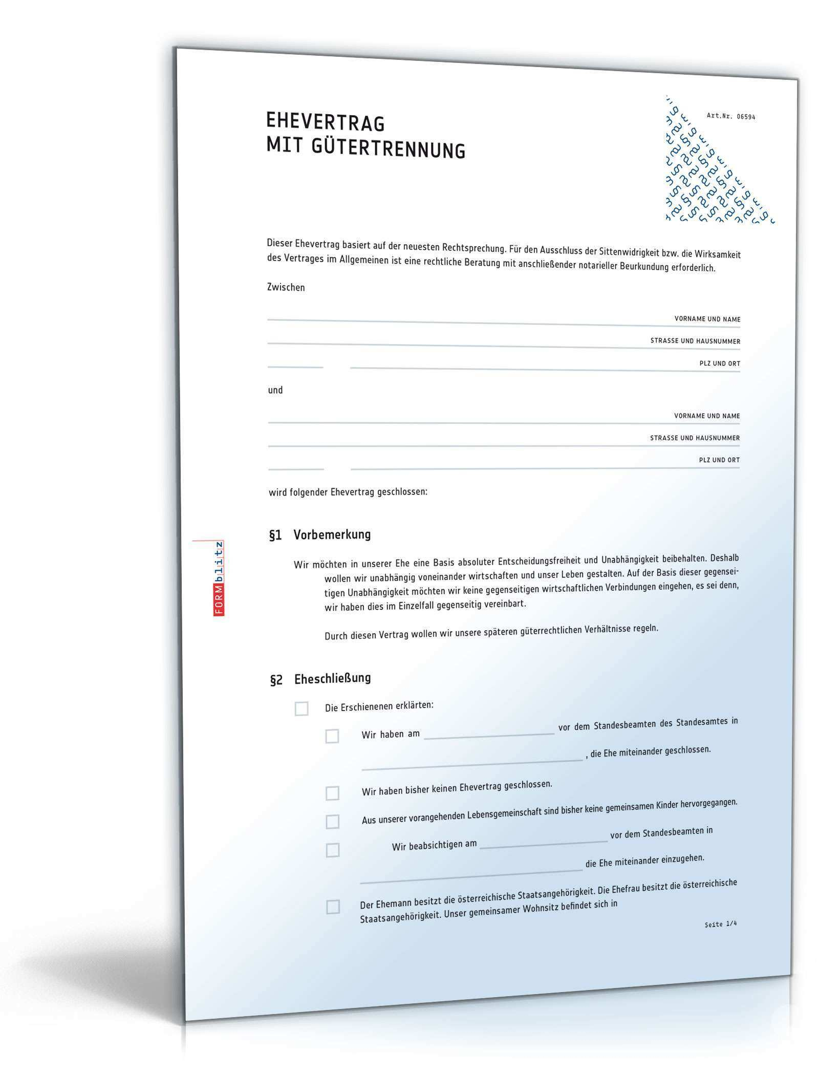 Ehevertrag Mit Gutertrennung Muster Vorlage Zum Download