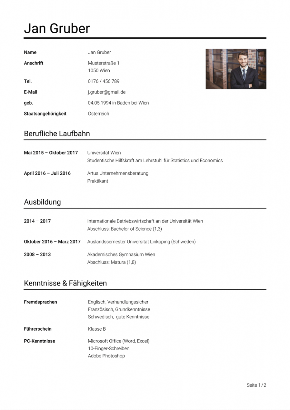 Lebenslauf Muster Osterreich In 2020 Document Templates Templates Design