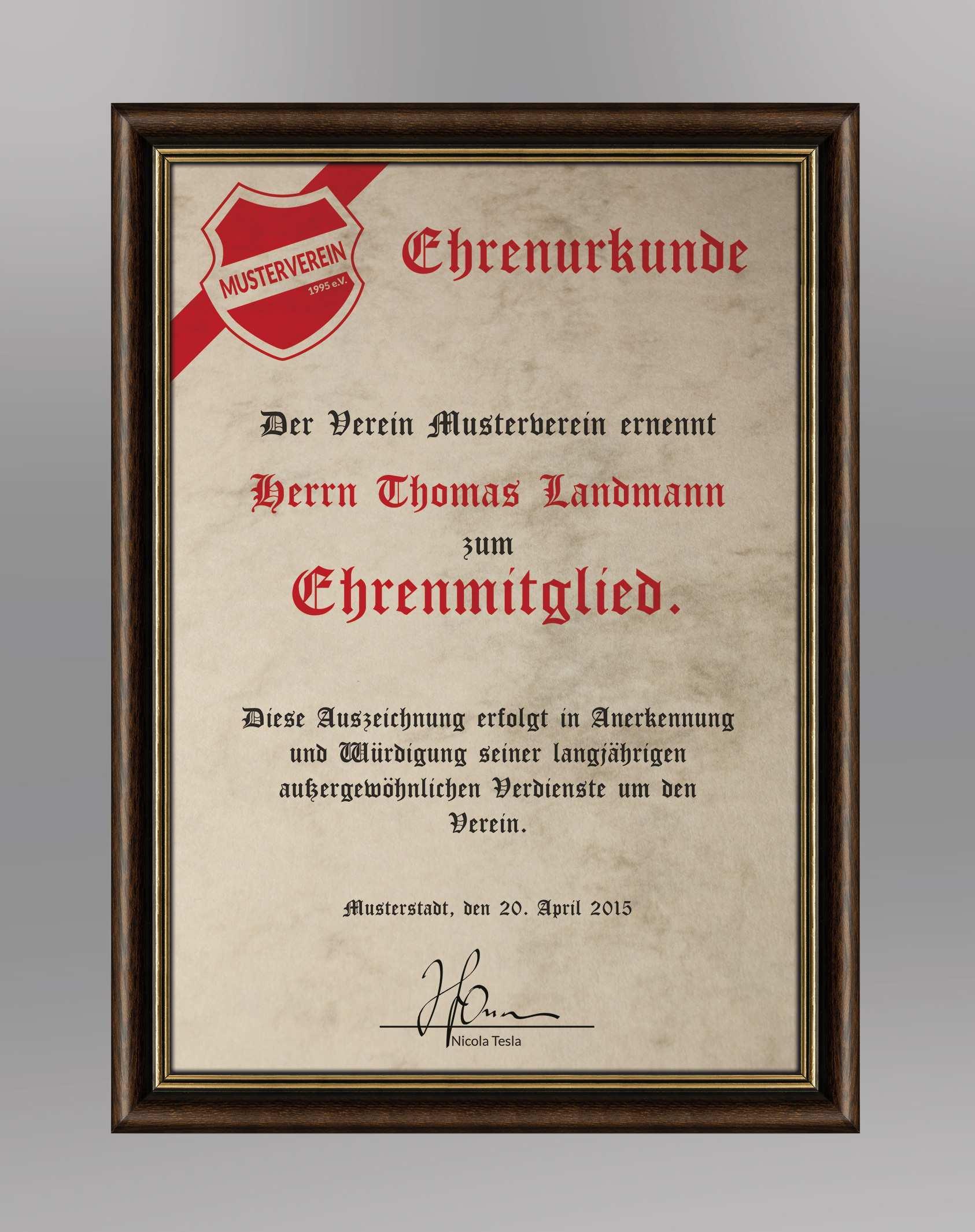 Urkundevorlage Klassische Ehrenurkunde Auf Papier
