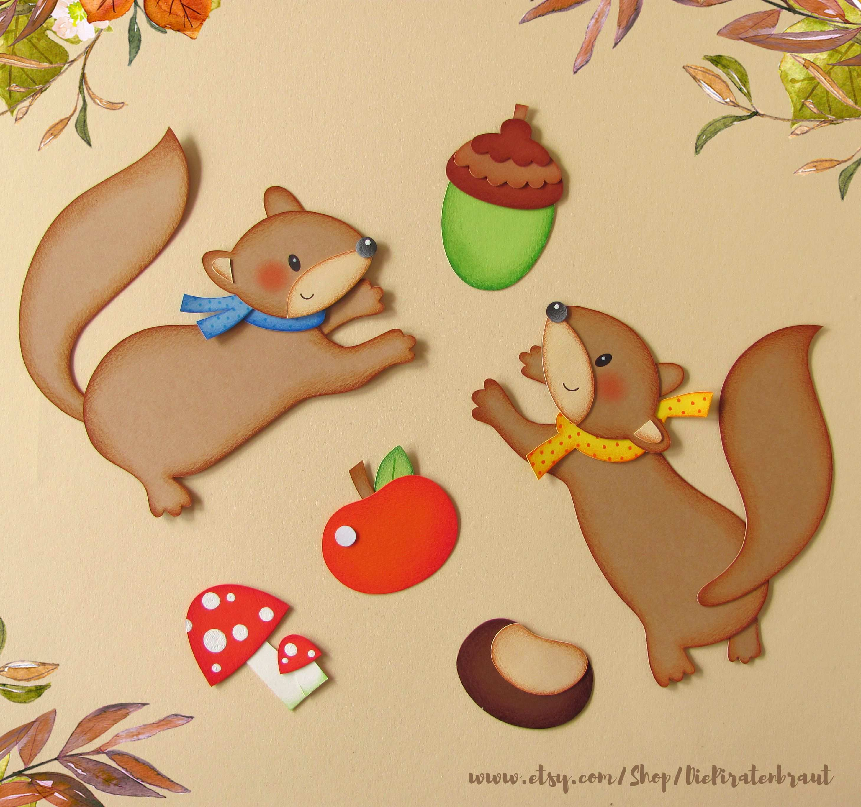 Digital Download Craft Template Window Picture Squirrels 3 Pages In 2020 Squirrel Crafts Pictures