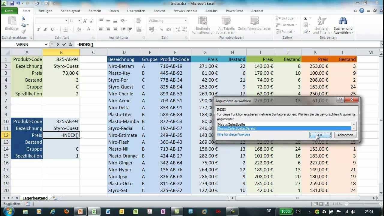 Excel Index Und Vergleich Zwei Varianten Excel Vorlage Rezeptbuch Vorlagen