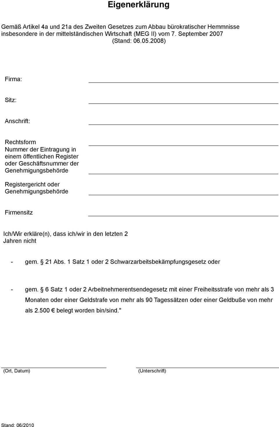 Eigenerklarung Gem 21 Abs 1 Satz 1 Oder 2 Schwarzarbeitsbekampfungsgesetz Oder Pdf Free Download