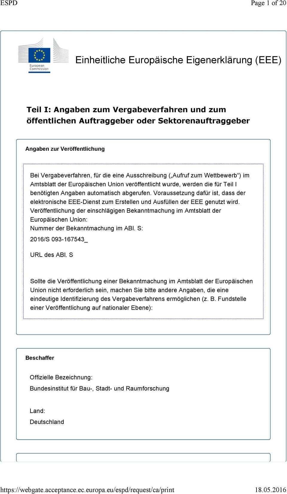 Einheitliche Europaische Eigenerklarung Eee Pdf Free Download