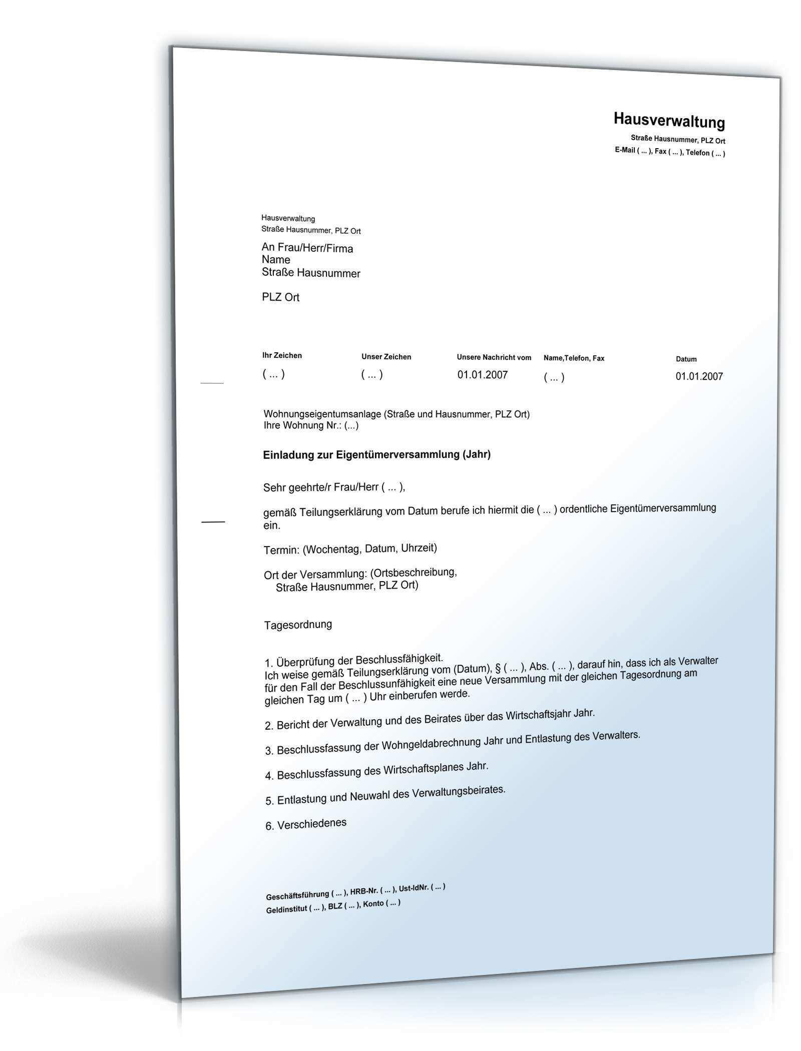 Einladung Eigentumerversammlung Vorlage Zum Download