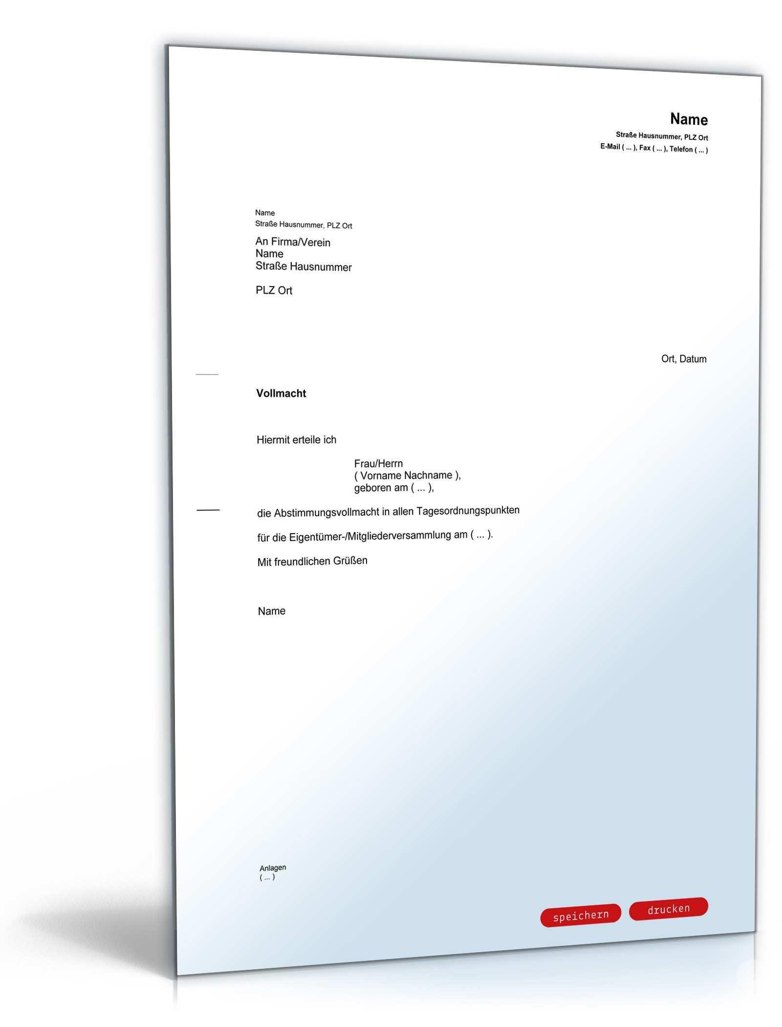 Vollmacht Fur Eigentumerversammlung Muster Zum Download