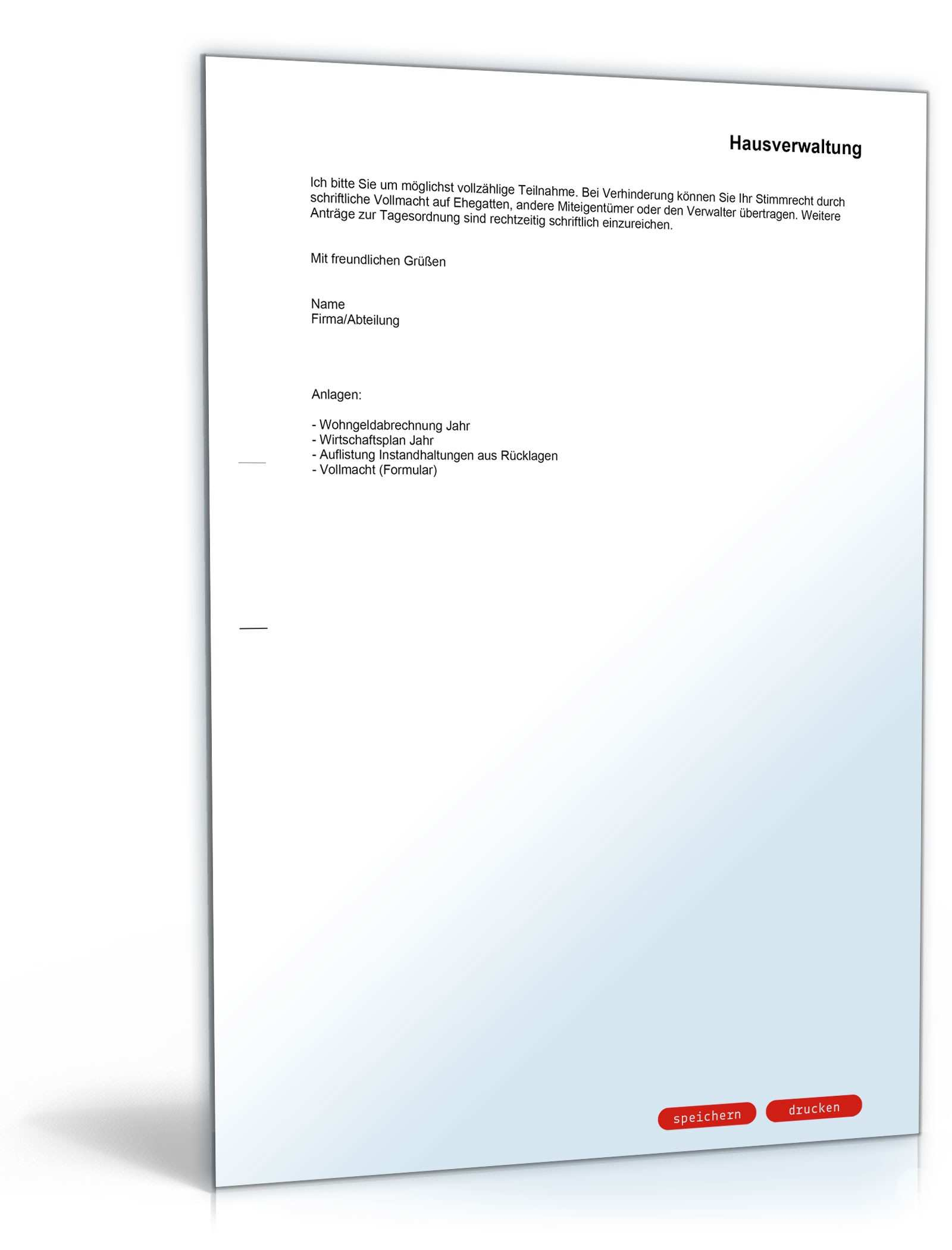 Einladung Zu Einer Eigentumerversammlung Musterbrief Sofort Zum Download