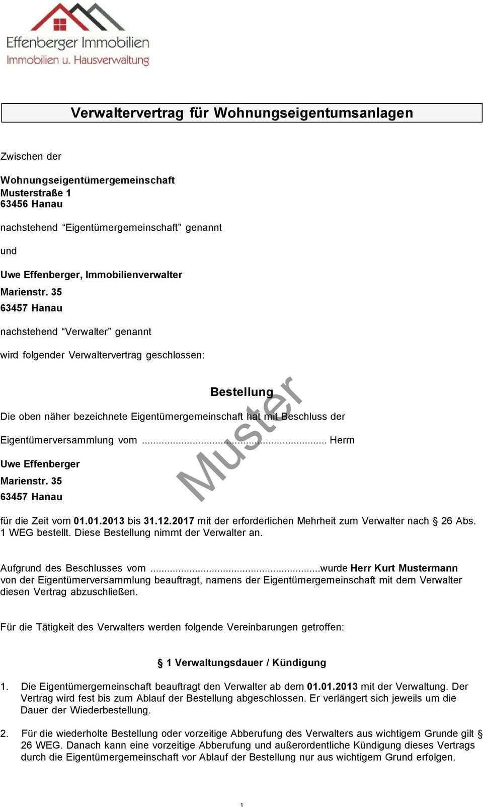 Verwaltervertrag Fur Wohnungseigentumsanlagen Muster Bestellung Pdf Kostenfreier Download