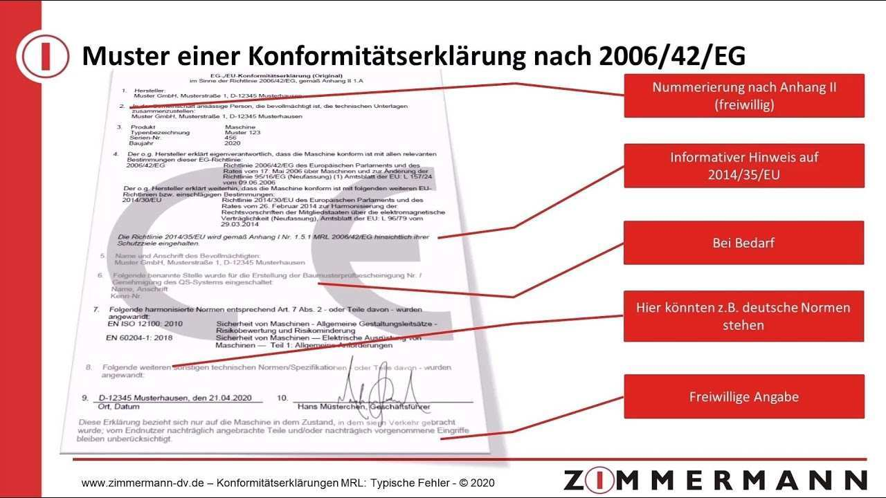 Typische Fehler In Konformitatserklarungen Nach Maschinenrichtlinie 2006 42 Eg Youtube