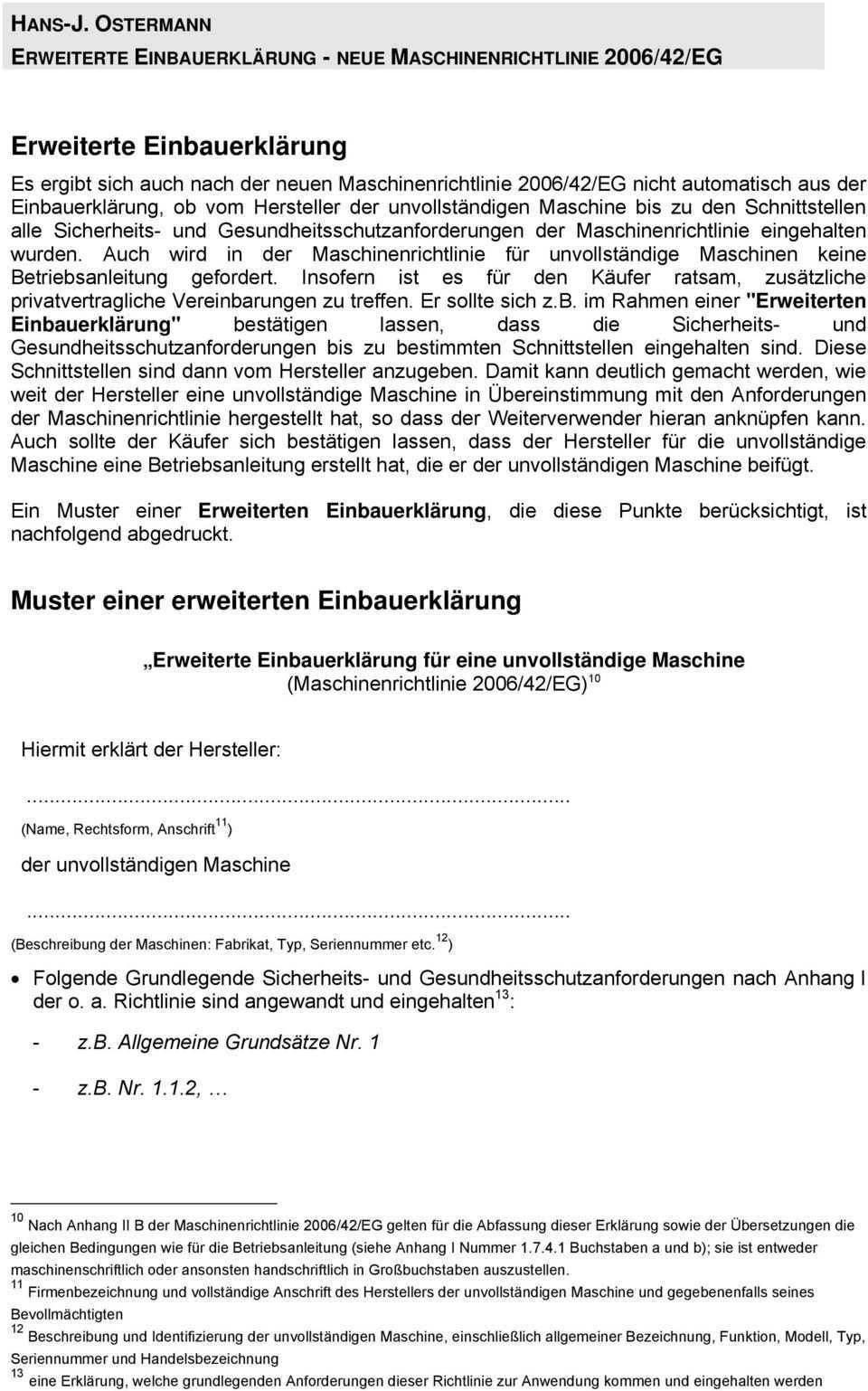Neue Maschinenrichtlinie2006 42 Eg Erweiterte Einbauerklarung Fur Unvollstandige Maschinen Pdf Free Download