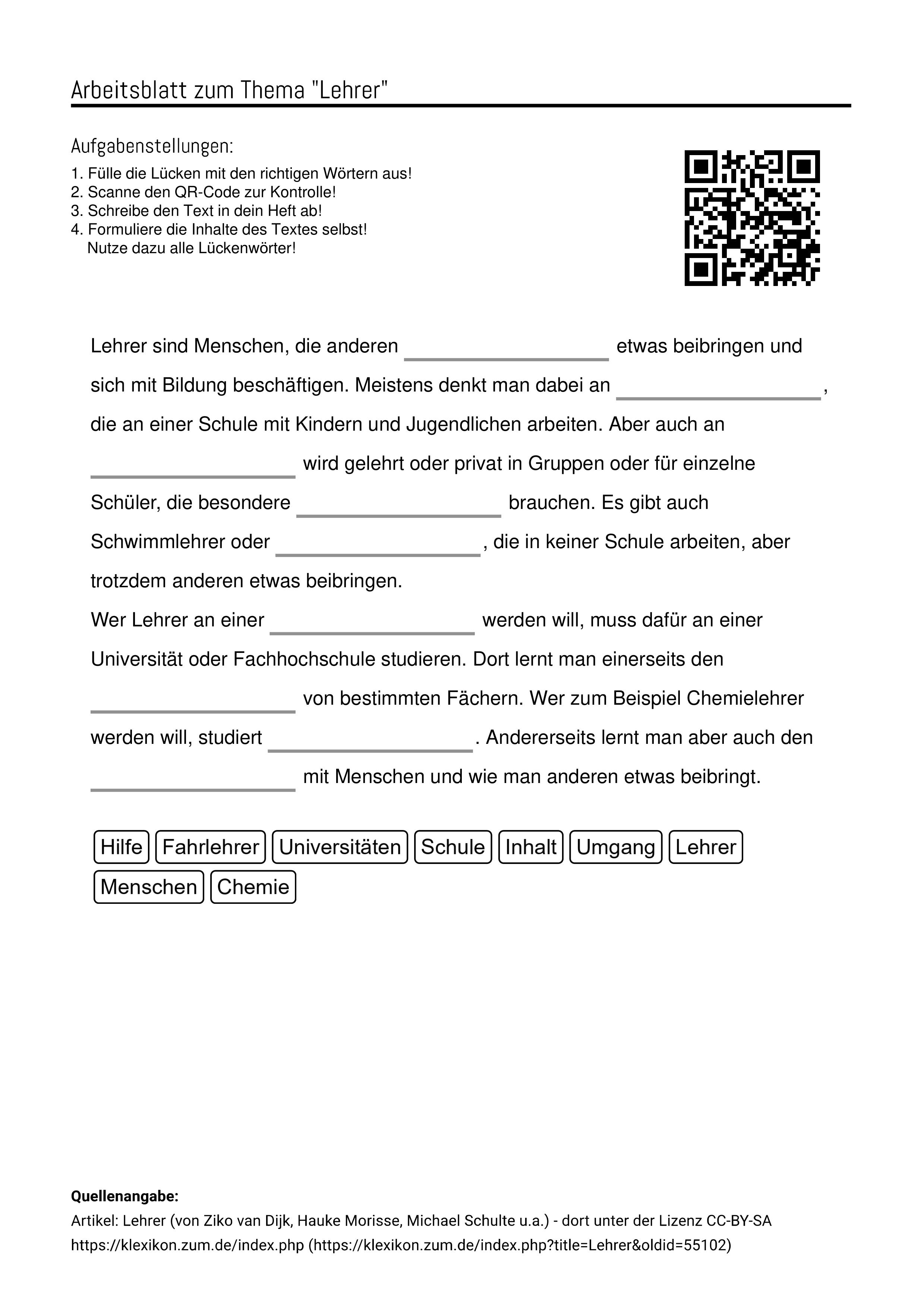 Arbeitsblatter Zum Thema Aufgabenstellung Arbeitsblatter Lehrer