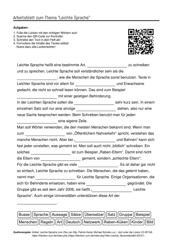 Arbeitsblatter Zum Thema In 2020 Aufgabenstellung Arbeitsblatter Leichte Sprache