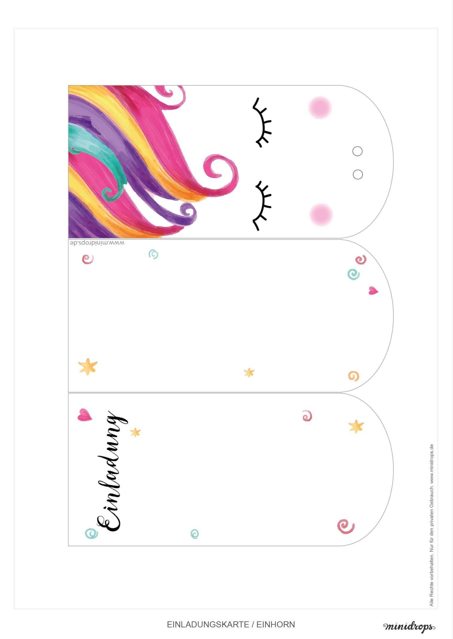 Susse Einhorn Einladungskarte Zum Ausdrucken Minidrops Einladungskarten Zum Ausdrucken Geburtstagseinladungen Basteln Einladungen Selber Basteln