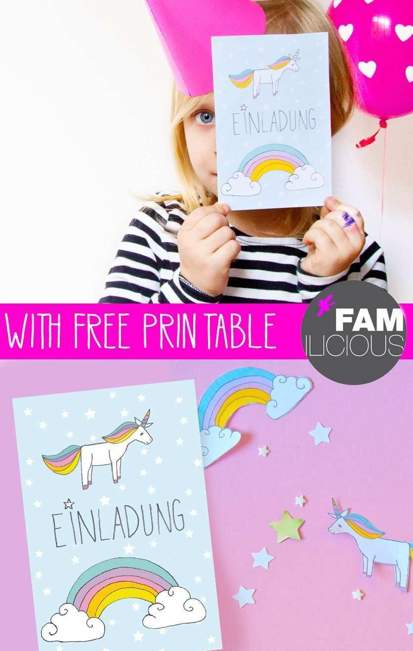 Diy Einhorn Einladung Zum Kindergeburtstag Free Printable Familicious Einladungen Selber Basteln Einladung Kindergeburtstag Einhorn Einladungen