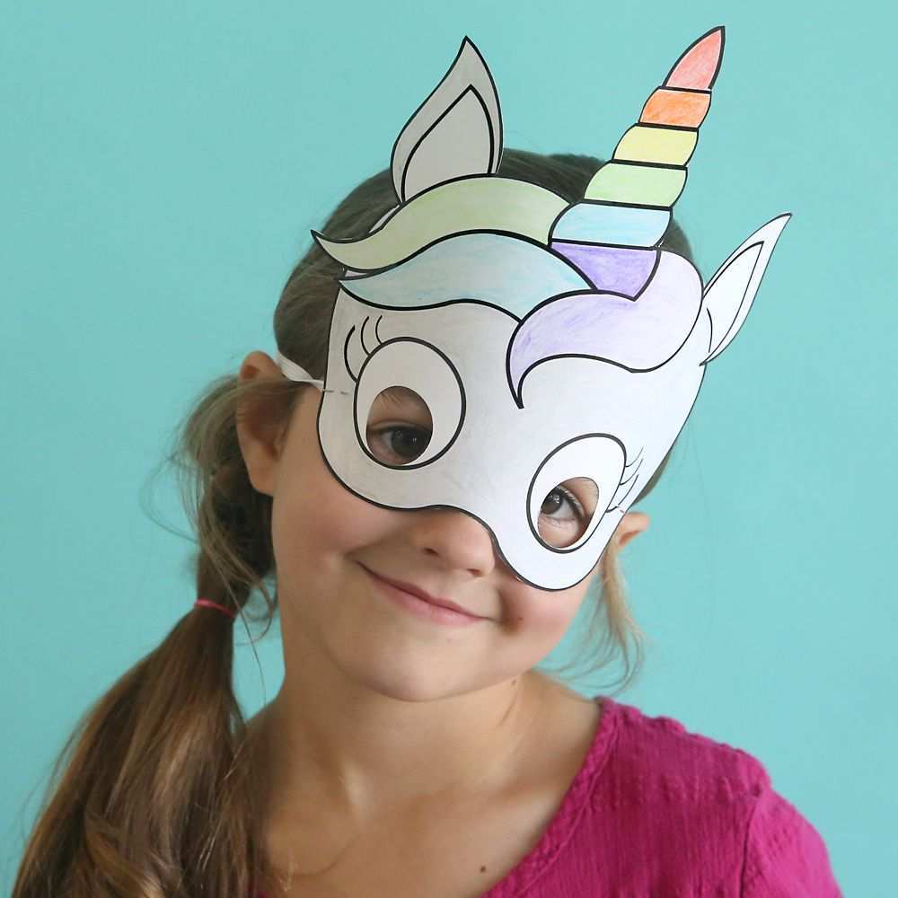 Unicorn Masks To Print And Color Free Printable Fasching Basteln Mit Kindern Fasching Basteln Und Masken Basteln