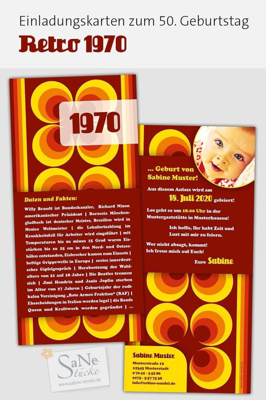 Einladung 50 Geburtstag 1970 70er Jahre Party Einladungskarten Zum 50 Einladung 40 Geburtstag