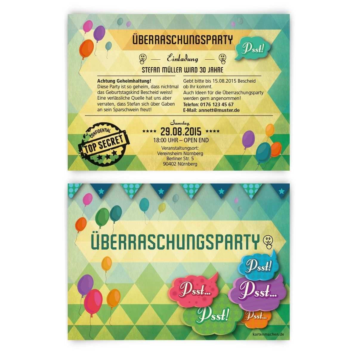 Einladungskarten Uberraschungsparty Geburtstag Einladung Geburtstagseinladu Einladungskarten Geburtstag Selbst Gestalten Uberraschungsparty Einladung Text
