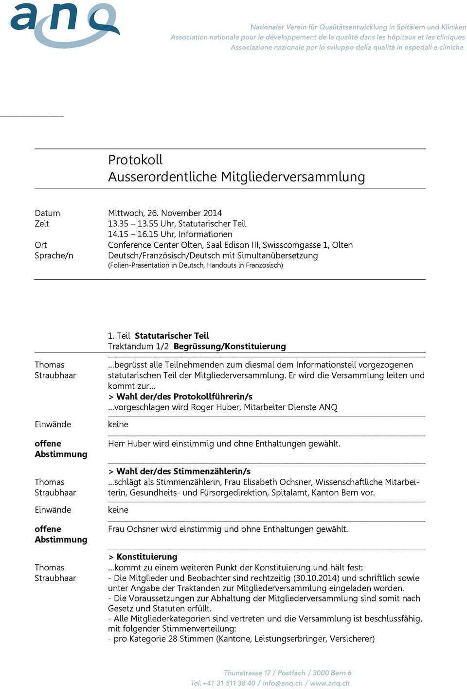 Protokoll Ausserordentliche Mitgliederversammlung Pdf Kostenfreier Download