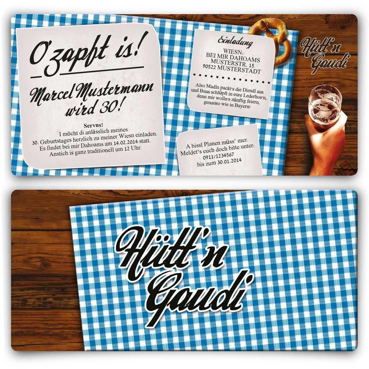 Einladungskarte Hutt N Gaudi Blau Einladungskarten Geburtstag Einladungskarten Einladungen