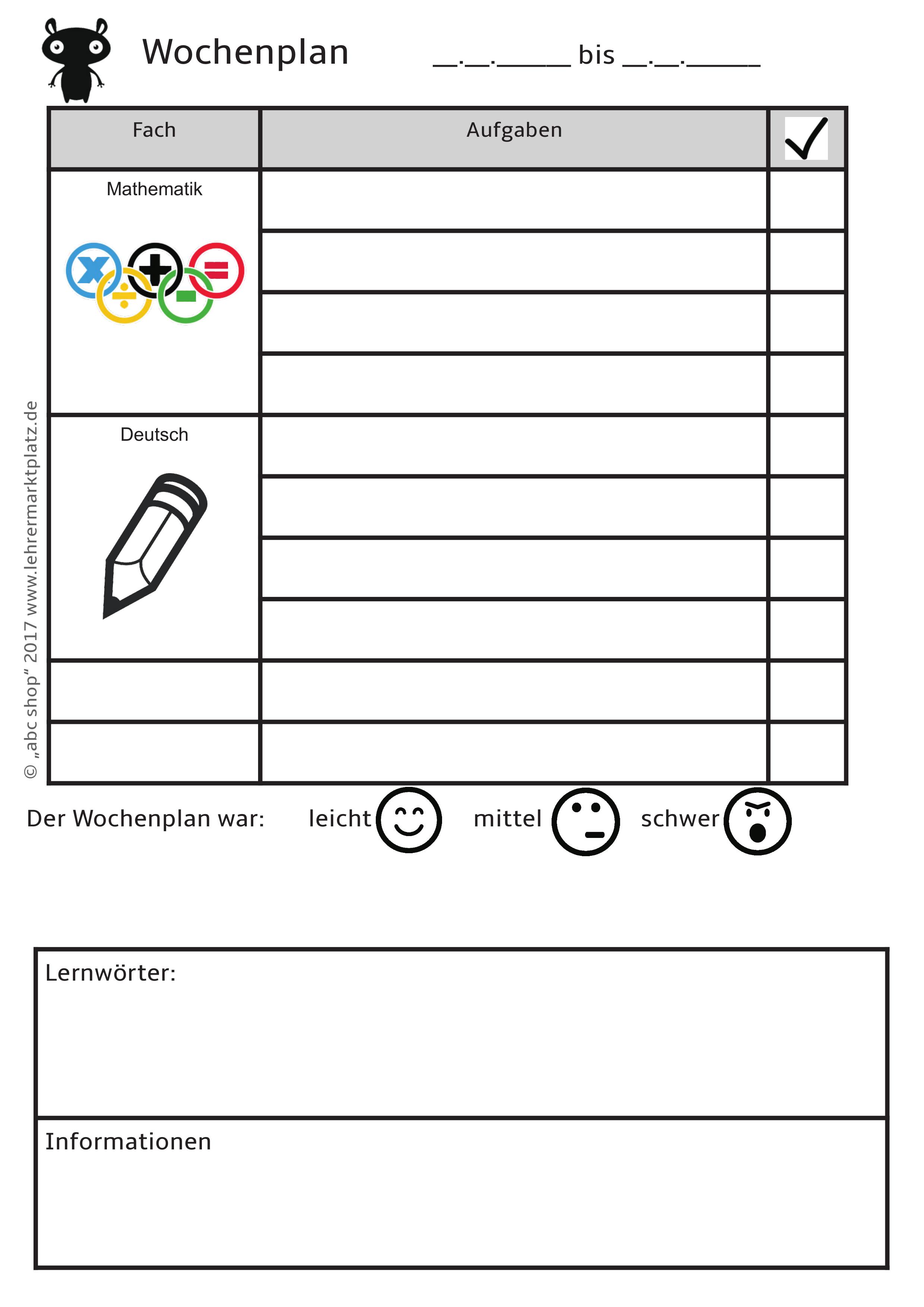 Vorlagen Zu Wochenplan Lernzeit Reflexion Forderplan Hausaufgaben Unterrichtsmaterial Im Fach Fachubergreifendes Wochenplan Vorlage Hausaufgaben Planer Wochen Planer