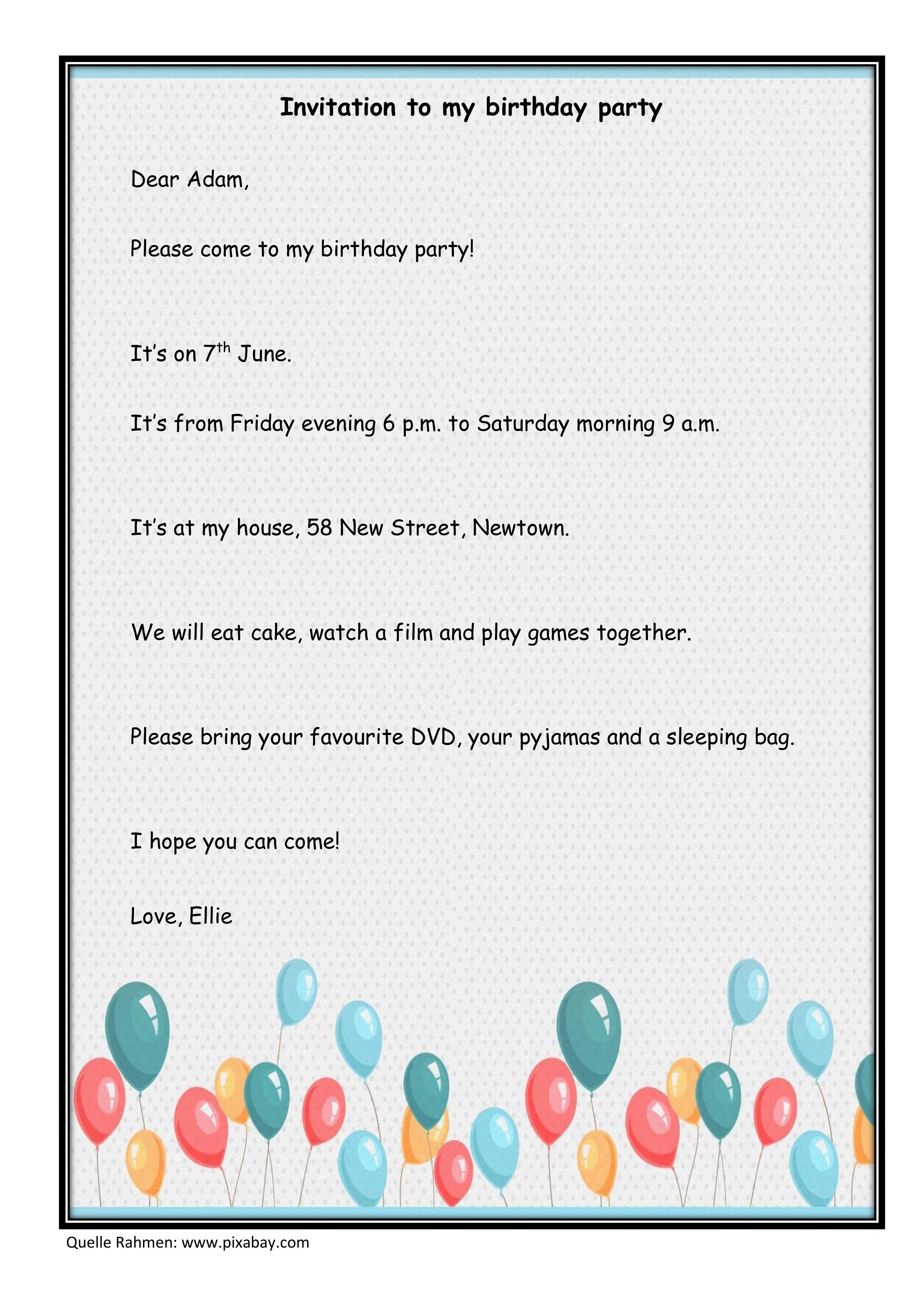 How To Write A Birthday Invitation Unterrichtsmaterial Im Fach Englisch Einladung Geburtstag Einladung Ideen Geburtstagseinladungen