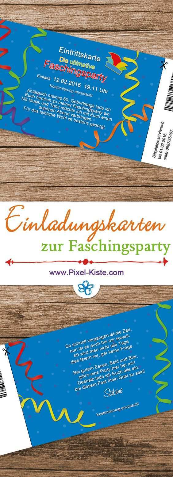 Einladung Eintrittskarte Faschingsparty Karneval Fasching Party Faschingsparty Einladungen