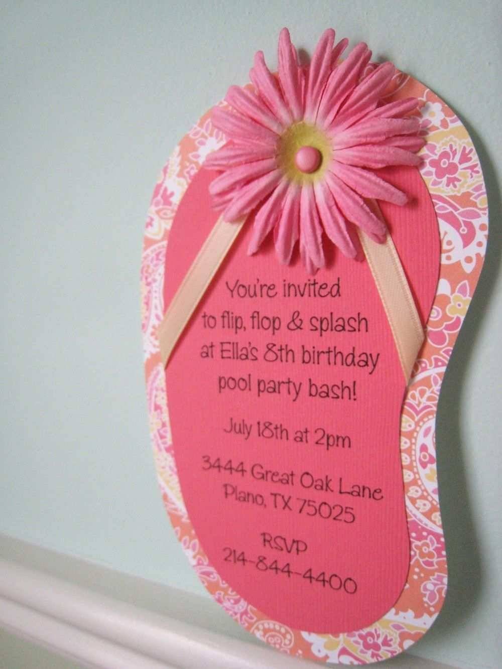 Flip Flop Invitation Google Search Pool Birthday Party Luau Birthday Party