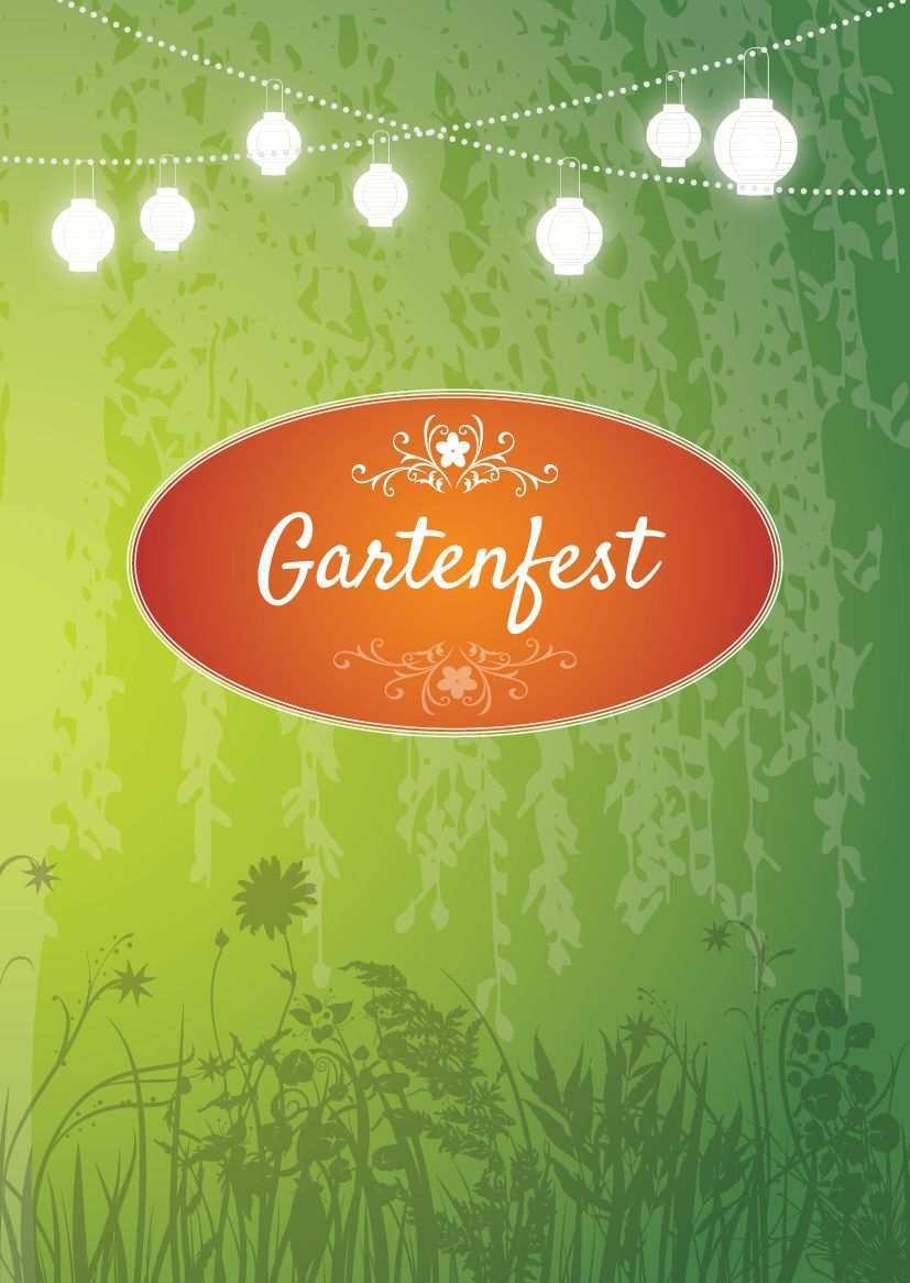 Einladung Zum Gartenfest Schone Einladungskarte In Grun Mit Leuchtenden Lampions Einladungen Gartenparty Gartenfest Einladungen